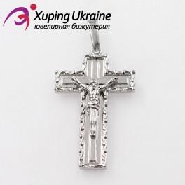Подвеска родиум прямоугольный Крест  с распятием