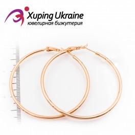 Серьги-кольца позолоченные 5 см, (гладкие)