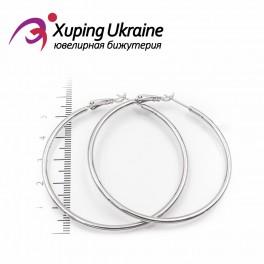 Серьги-кольца родированные 5 см, (гладкие)