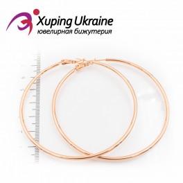 Серьги-кольца позолоченные 6,5 см, (гладкие)