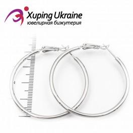 Серьги-кольца родированные 4 см, (гладкие)
