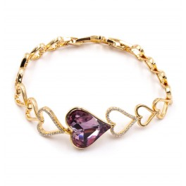 Браслет «Сердца» лим. позолота Swarovski Crystals (0,9/18,5см)