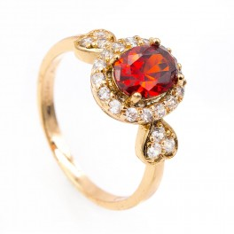 Кольцо лимонное золото Овал перстень