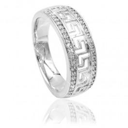 Кольцо родий Греческий орнамент между линий мелких камней (0,7 )