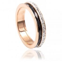 Кольцо (позолота) Дорожка мелких камней (сплошная) на белой эмали+ керамическая вставка