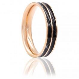 Кольцо (позолота) Две линии черной эмали (сталь)