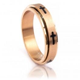 Кольцо (позолота) Мужское,эмалированные крестики (вращающееся) (сталь)