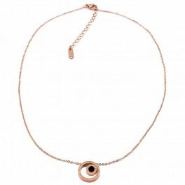 Кулон на цепочке (позолота) (сталь) Круг в круге, римские цифры