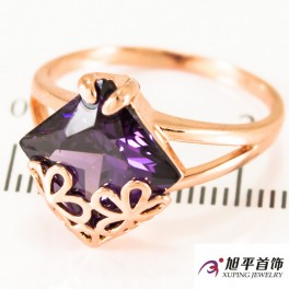 Кольцо позолота Квадр. камень (ромб) на двойном кольце, мет. цветочки