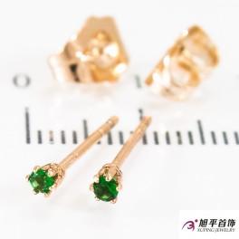 """Серьги-гвоздики позолота """"Зеленый камень 0,2 см"""""""