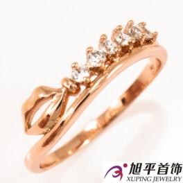Кольцо позолота «Поцелуй» с мелкими камнями