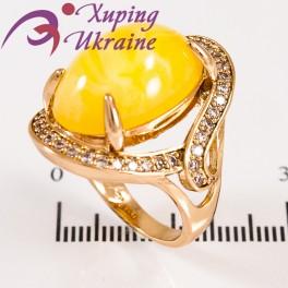 """Кольцо лимонное золото """"Большой овальный камень"""""""