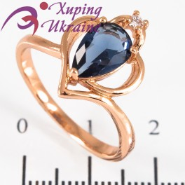 Кольцо позолота Капля-камень в 3х держ. в сердце-оправе