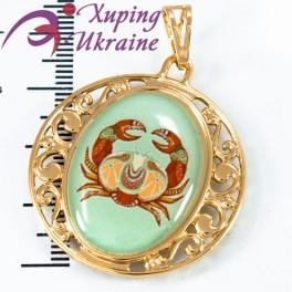 Подвеска лимонное золото Знаки Зодиака (Рак) - с цветным изображением