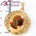 Подвеска лимонное золото Знаки Зодиака (Дева) - с цветным изображением