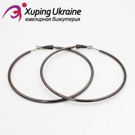 Серьги-кольца черный родиум гладкие 6,5 см