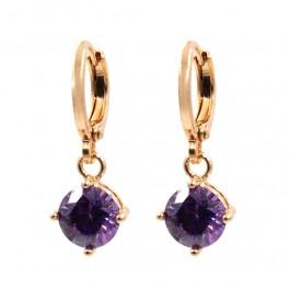 Серьги висящие — позолота, фиолетовый камень
