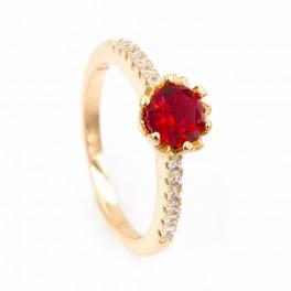 """Кольцо лимонное золото """"Камень 0,5 в мет. цветке, на линии оч. мелких камней"""""""