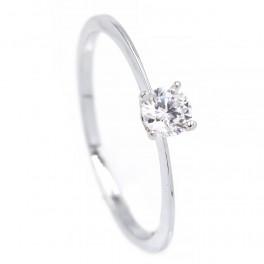 Кольцо «Один маленький камень»- родиум