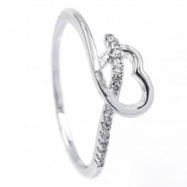 Кольцо «Тонкое сердечко — завиток» - родиум