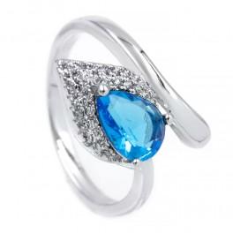 Кольцо — родиум, Капля-камень голубого цвета на листе мелких камней,на изгибе