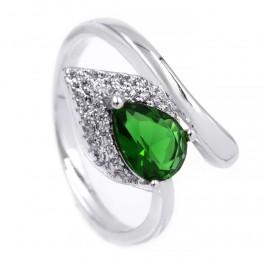 Кольцо — родиум, Капля-камень зеленого цвета на листе мелких камней,на изгибе