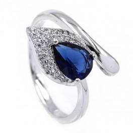 Кольцо — родиум, Капля-камень синего цвета на листе мелких камней,на изгибе