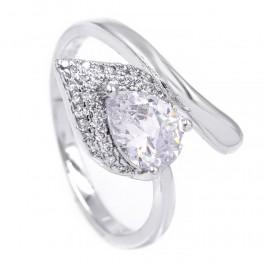 Кольцо — родиум, Капля-камень белого цвета на листе мелких камней,на изгибе