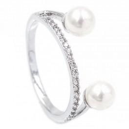 Кольцо с дорожкой из мелких камней и двумя жемчужинами - родиум