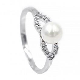 Кольцо с жемчужиной на пересечении камней - родиум
