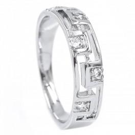 Кольцо — Шахматный узор с камнями (0,5) - родиум