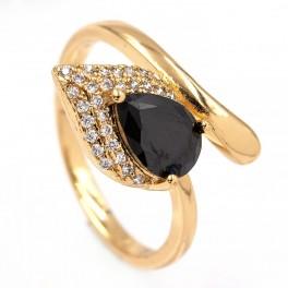 Кольцо - лимонная позолота, Капля-камень черного цвета на листе мелких камней,на изгибе
