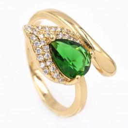 Кольцо - лимонная позолота, Капля-камень зеленого цвета на листе мелких камней,на изгибе