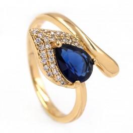 Кольцо - лимонная позолота, Капля-камень синего цвета на листе мелких камней,на изгибе