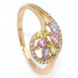 Кольцо — лимонная позолота, Веточка из узких камней в капле, контур мелких камней