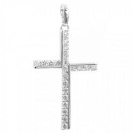 Крестик родированный с камнями