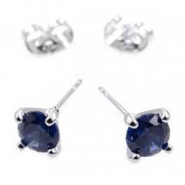 Серьги-гвоздики — родий, камень — 0,6см, синий