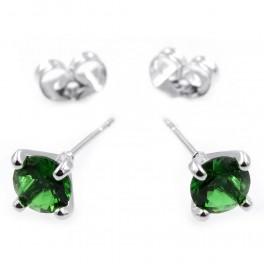 Серьги-гвоздики — родий, камень — 0,6см, зеленый