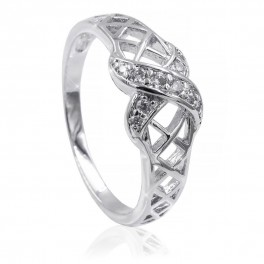 Кольцо родиум Х, 2 изгиба камней на кольце-сетке