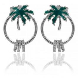 Серьги-гвоздики родий Пальма(зеленая эмаль) на кольце+3 маленьких колечка в мелких камнях