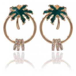 Серьги-гвоздики лимонная позолота Пальма(зеленая эмаль) на кольце+3 маленьких колечка в мелких камнях