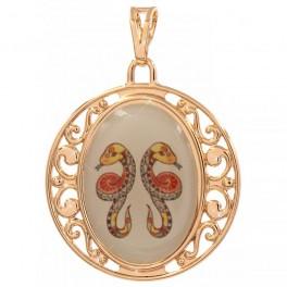 Подвеска лимонное золото Знаки Зодиака (Близнецы)- с цветным изображением