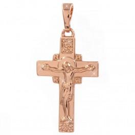 Крестик с распятием, с узором над Иисусом, позолота (1,5/2,2см)