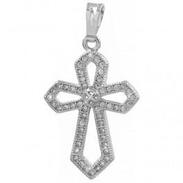 Подвеска родиум Крест, мелкие камни по контуру