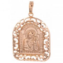 Подвеска позолота Ладанка-Богородица в широкой ажурной рамочке, 3 см