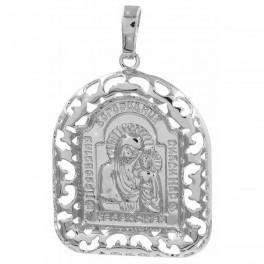 Подвеска родиум Ладанка-Богородица в ажурной рамочке 2,9 х 2,5 см