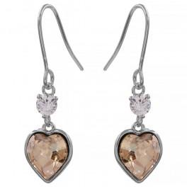 Серьги (крючки) с кристаллами Swarovski Серце-камень родиум (Медицинская сталь)