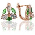 Серьги-классические — позолота, зеленый