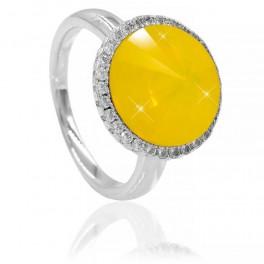 Кольцо Swarovski с ярко-желтым кристаллом