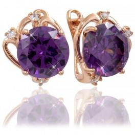 """Серьги позолоченные """"Фиолетовый круглый камень в красивой оправе"""""""